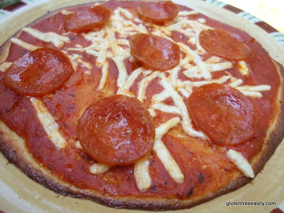 Individual Cornmeal Pizza from Gluten Free in Five Minutes by Roben Ryberg [featured on GlutenFreeEasily.com]