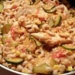 Saucy Cheesy Chicken Veggie Pasta Skillet Supper