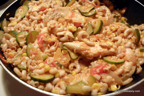 So often when I decide to make a spur-of-the-moment gf meal, it's something like this Saucy Cheesy Chicken Veggie Pasta Skillet Supper. And it's so good! Read my post for guidelines on creating your own pasta skillet supper. So often when I decide to make a spur-of-the-moment gf meal, it's something like this Saucy Cheesy Chicken Veggie Pasta Skillet Supper. And it's so good! Read my post for guidelines on creating your own pasta skillet supper.