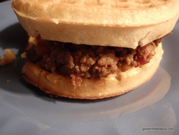 Homemade Sloppy Joe made without a mix and served on a waffle. Gluten free in this case!