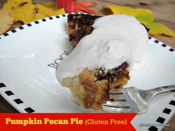 When two classic pies come together! Gluten-Free Pumpkin Pecan Pie. I like making this with pumpkin or cushaw squash. [from GlutenFreeEasily.com] (photo)