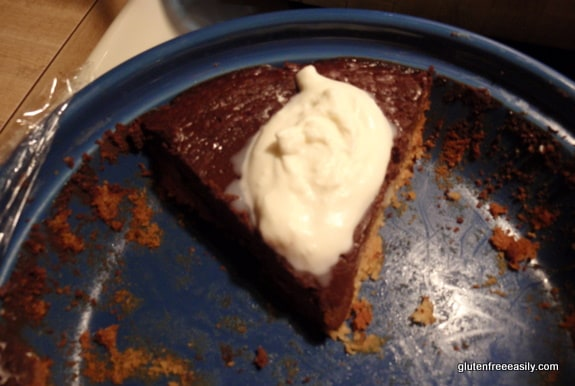 Chocolate Silk Pie. Last piece! This pie is gluten free and dairy free, but lacking nothing. It is so, so good! [from GlutenFreeEasily.com]