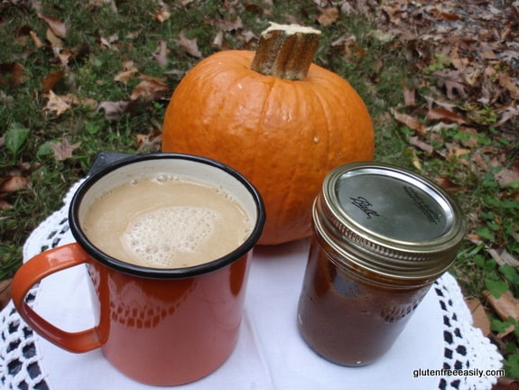pumpkin spice latte, gluten-free pumpkin spice latte, coffee-free pumpkin spice latte, beverage, pumpkin recipe, pumpkin butter