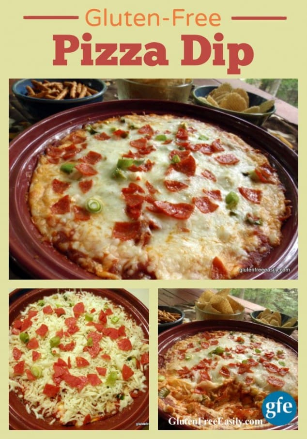 Pizza Dip is perfect for parties or an informal and relaxed offbeat dinner! One of 17 gluten-free holiday appetizers that will make your New Year celebration! [from GlutenFreeEasily.com] (photo)