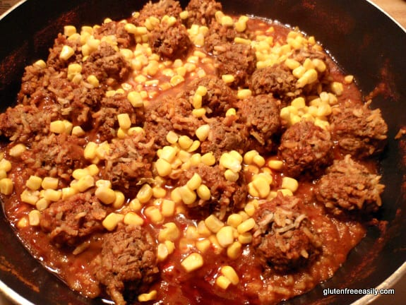 Porcupine Meatballs with Corn Skillet Gluten Free Easily