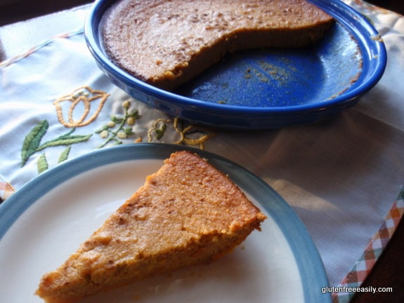 Crustless Gluten-Free Sweet Potato Pie from Gluten Free Easily. Naturally gluten free and dairy free with grain-free, egg-free option. Oh my, my, my, this pie is good! Warning: It might replace your pumpkin pie. [from GlutenFreeEasily.com]