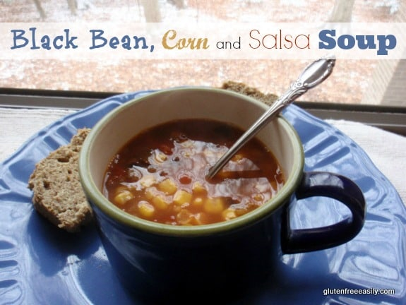 Black Bean, Corn, and Salsa Soup with Gluten-Free, Grain-Free, Paleo Bread