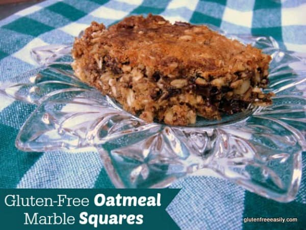 Gluten-Free Oatmeal Marble Squares. I give you two versions of these treats--slightly ooey and gooey and healthier or very ooey and gooey. I'm pretty sure you'll love them either way. [from GlutenFreeEasily.com]