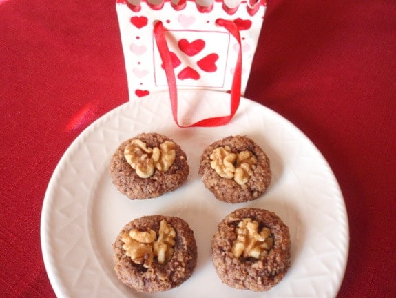 gluten free, dairy free, refined sugar free, paleo, primal, cookies, treats, Suite of Sweets for Sweethearts, heart healthy, chocolate, walnuts