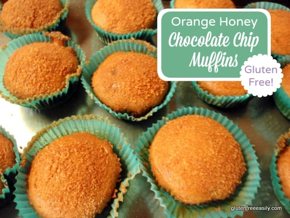These gluten-free Orange Honey Chocolate Chip Muffins are light and lovely with their orange flavor nicely punctuated by the addition of chocolate chips.  [from GlutenFreeEasily.com] (photo)
