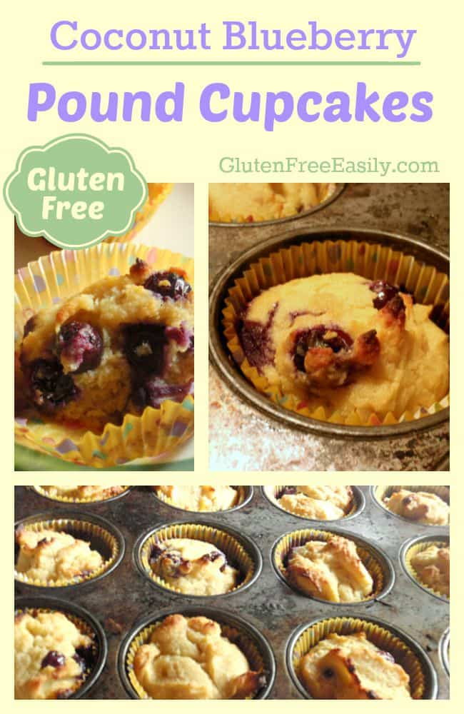 Coconut Blueberry Pound Cupcakes at GluteFreeEasily.com