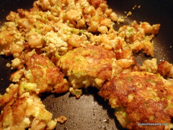 coconut popcorn shrimp cakes, crumbles, gluten free, dairy free, egg free