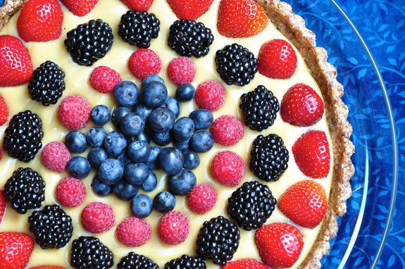 Raw Berry Tart with a Coconut Pastry Cream Pastry from Nourishing Meals [featured on GlutenFreeEasily.com]