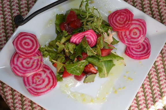 Candy Cane Beet, Strawberry, and Black Plum Salad with Ginger Lemon Honey Dressing The Tasty Alternative