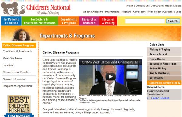 Children's National Medical Center, D.C., celiac, gluten free