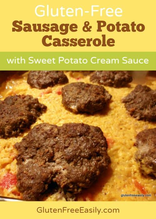 Gluten-Free Sausage and Potato Casserole with Sweet Potato Cream Sauce at Gluten Free Easily