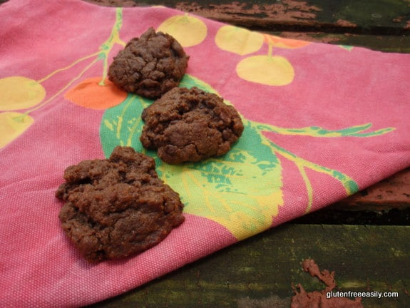 These Double Chocolate Nut Butter Oaties are soft, moist and somewhat hearty cookies. They make for great lunch or breakfast cookies; only one or two is needed to satisfy! [from GlutenFreeEasily.com] (photo)