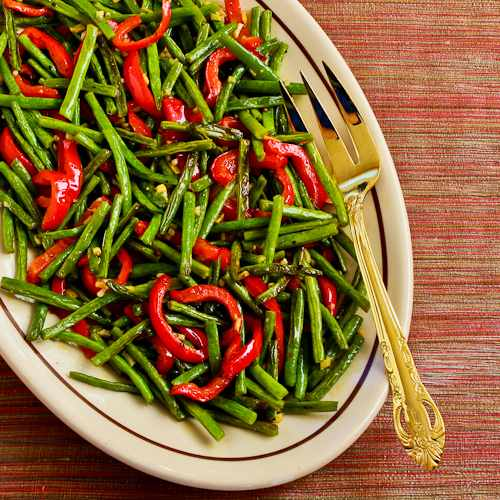 Roasted Green Beans with Red Pepper, Garlic, and Ginger from Kalyn's Kitchen