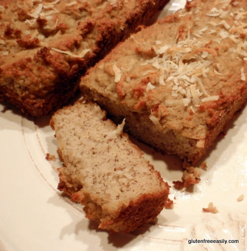 Gluten-Free Banana Coconut Bread. You'd never know it to look at this bread or to sample it, but these are actually grain-free Banana Coconut Mini Loaves. [from GlutenFreeEasily.com]