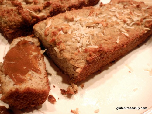 Gluten-Free Banana Coconut Bread. You'd never know it to look at this bread or to sample it, but these are actually grain-free Banana Coconut Mini Loaves. You'll love them! So don't expect a mini loaf to last long! Especially when you add a schmear of pumpkin butter. [featured on GlutenFreeEasily.com]