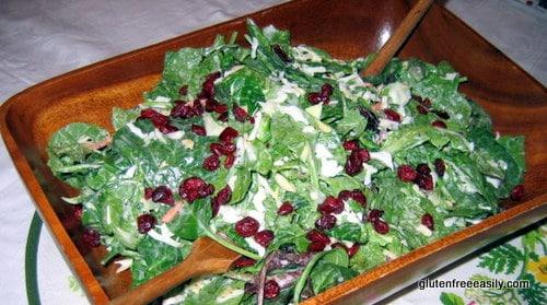 gluten free, dairy free, vegan, salad, spinach, romaine, cranberries, craisins, almonds, poppyseed dressing, Brianna's