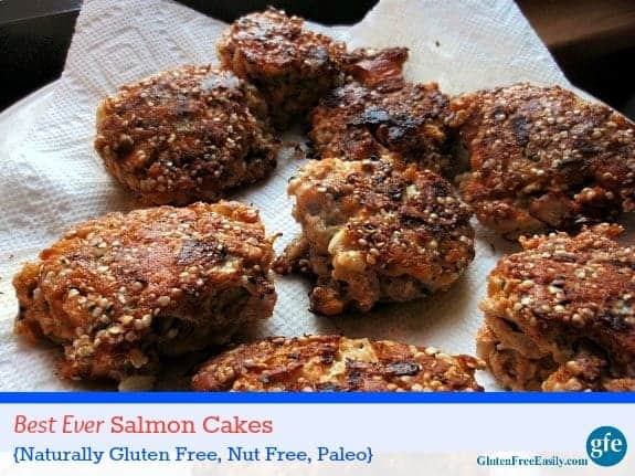 "These Best Ever Gluten-Free Salmon Cakes are naturally gluten free, grain free, dairy free, nut free, and ""more free"" but they're still absolutely delicious! Hemp seeds are the ""secret ingredient"" that makes these salmon cakes so special and I do mean special! [from GlutenFreeEasily.com]"