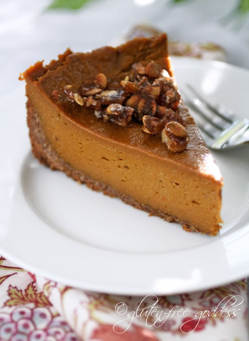 Gluten-Free, Dairy-Free, Egg-Free, Vegan Pumpkin Pie with Praline and Coconut-Pecan Crust from Gluten-Free Goddess