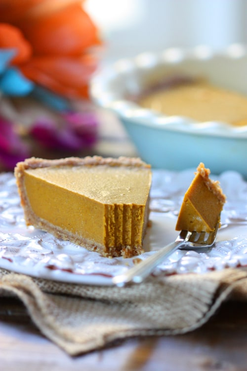 Gluten-Free Dairy-Free Egg-Free Vegan Pumpkin Pie from The Spunky Coconut