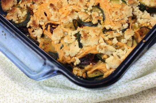 gluten free, dairy free, vegan, zucchini, sun-dried tomatoes, Daiya cheese, casserole, Tasty Eats At Home