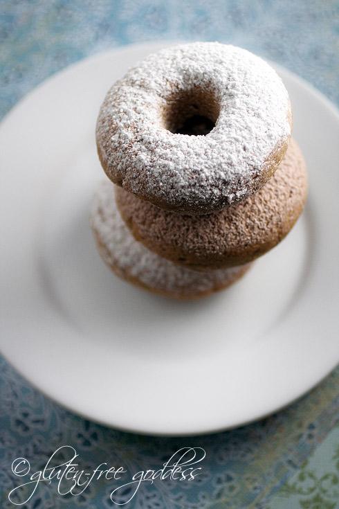gluten free, dairy free, egg free, cake, donuts, doughnuts, powdered sugar, cinnamon, Karina Allrich, Gluten-Free Goddess