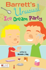gluten free, gluten intolerance, celiac, children's book, Barrett's Unusual Ice Cream Party, Michelle King
