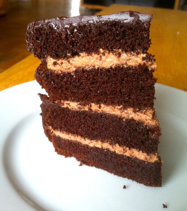 Rave-Worthy No Joke Dark Chocolate Layer Cake from Zenbelly [featured on AllGlutenFreeDesserts.com]