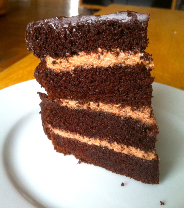 This Paleo Dark Chocolate Layer Cake is grain free, dairy free, and pretty amazing! It's even on the frugal side with less eggs. [from GlutenFreeEasily.com] (photo)