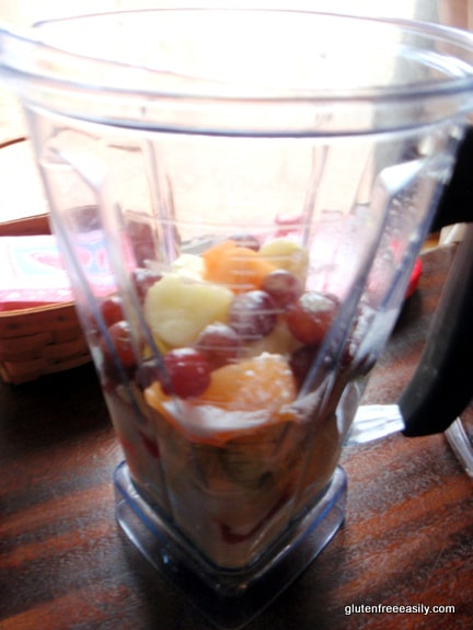 Vitamix, gluten free, dairy free, fruit, smoothie, recipe, watermelon, grapes, honeydew melon, canteloupe, pineapple, coconut milk, orange juice, bananas, what to do with leftover fruit platter