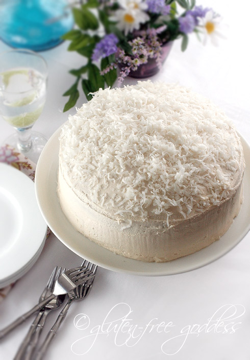 gluten free, dairy free, egg free, vegetarian, vegan, coconut, cake, coconut cake, recipe, dessert, Karina Allrich, Gluten-Free Goddess, best gluten-free dessert recipes, all gluten-free desserts, free gluten-free dessert recipes