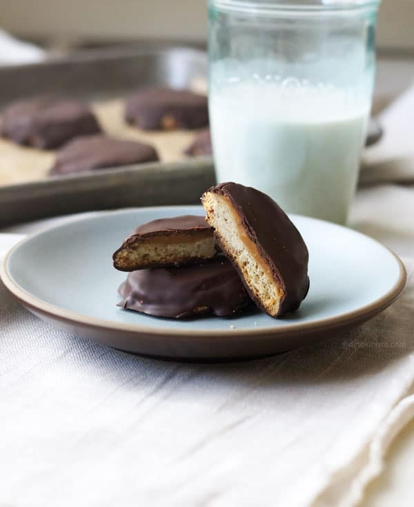 Gluten-Free Vegan Tagalongs from Detoxinista. One of the top gluten-free homemade Girl Scout cookie recipes featured on gfe. [on GlutenFreeEasily.com]