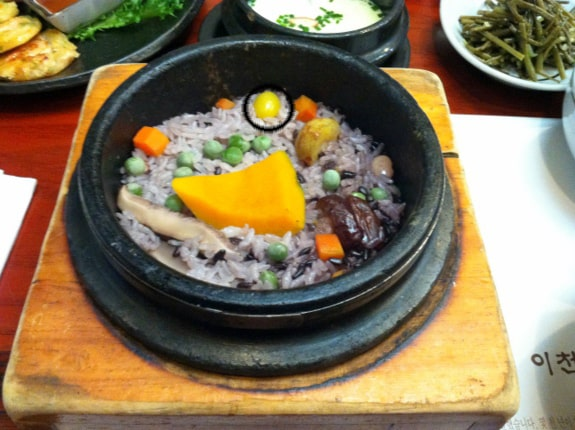 Eating Gluten Free in Korea. This dish is usually NOT gluten free because of the inclusion of barley. A very helpful trip report and tutorial from gfe reader and friend. [from GlutenFreeEasily.com] (photo)