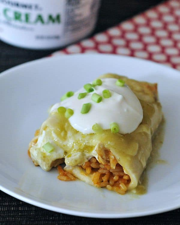 Cheesy Hatch Chile Enchiladas from Spabettie. Gluten free and vegan.