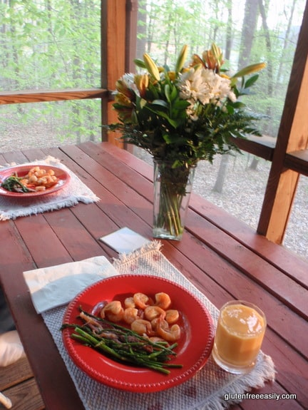 gluten free, dairy free, oven-steamed shrimp, prosciutto-wrapped asparagus,
