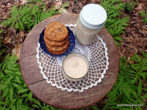 Homemade Almond Milk in Less Than 3 Minutes. For real! (shown with my Flourless Peanut Butter Chocolate Chip Cookies) [on GlutenFreeEasily.com]