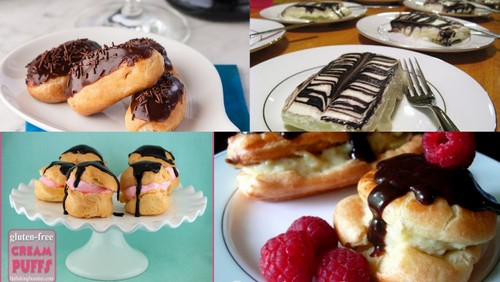 Homemade Gluten-Free Chocolate Eclair Recipes in every form! Mini eclairs, regular-sized eclairs, and even a chocolate eclair cake! [featured on GlutenFreeEasily.com]