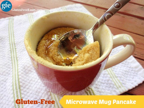 Now you can have a pancake any time you want! With no muss and no fuss! Gluten-Free Microwave Mug Pancake from Gluten Free Easily