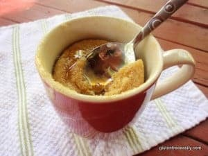 Gluten-Free Mug Pancake. One of many fabulous Gluten-Free Mother's Day Brunch Recipes! How much simpler could brunch be for Mom?