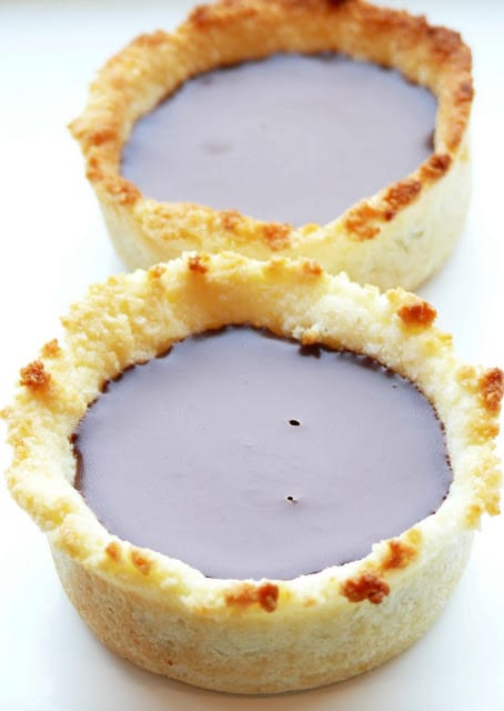 mini coconut choc tarts