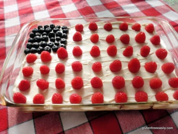 Flourless Chocolate Quinoa Cake All Decked Out for 4th of July, Memorial, Day, Labor Day