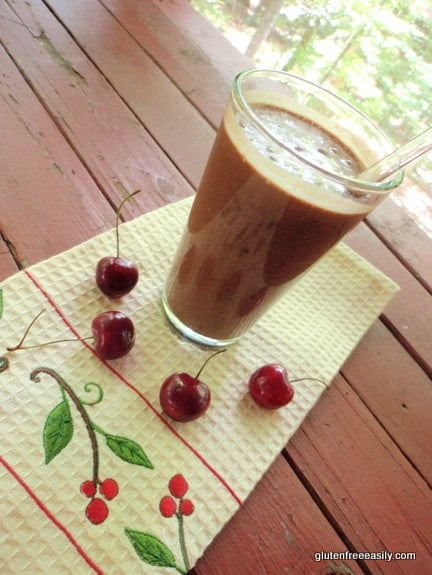 Chocolate Cherry Milkshake--like a Chocolate Cherry Frosty! Gluten free, dairy free, refined sugar free & delicious!