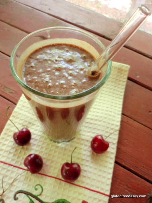 Chocolate Cherry Milkshake--like a Chocolate Cherry Frosty! Naturally gluten free, dairy free, and oh, so good! [from GlutenFreeEasily.com]