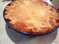 gluten-free peach pie, crustless peach pie, pour over crust, pie with pour over crust, dessert, pie, recipe, Shirley Braden, gluten free easily