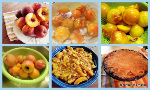 Step by step. Easy Crustless Peach Pie [from GlutenFreeEasily.com]