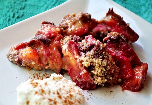 Gluten-Free Paleo Plum and Peach Pie from Go Dairy Free